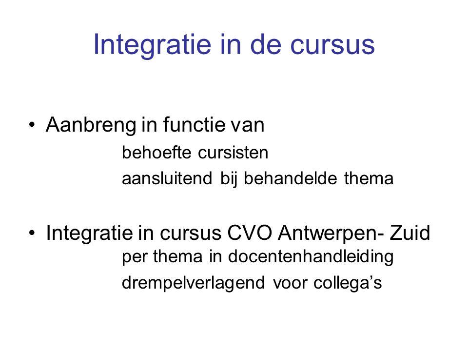 Integratie in de cursus •Aanbreng in functie van behoefte cursisten aansluitend bij behandelde thema •Integratie in cursus CVO Antwerpen- Zuid per the
