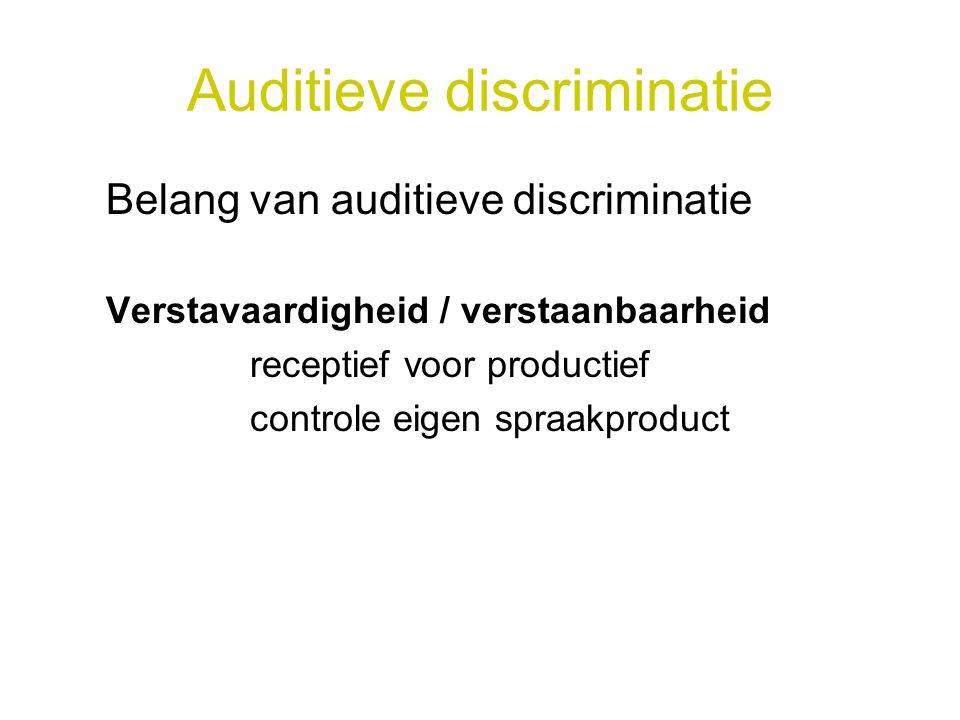 Auditieve discriminatie Belang van auditieve discriminatie Verstavaardigheid / verstaanbaarheid receptief voor productief controle eigen spraakproduct