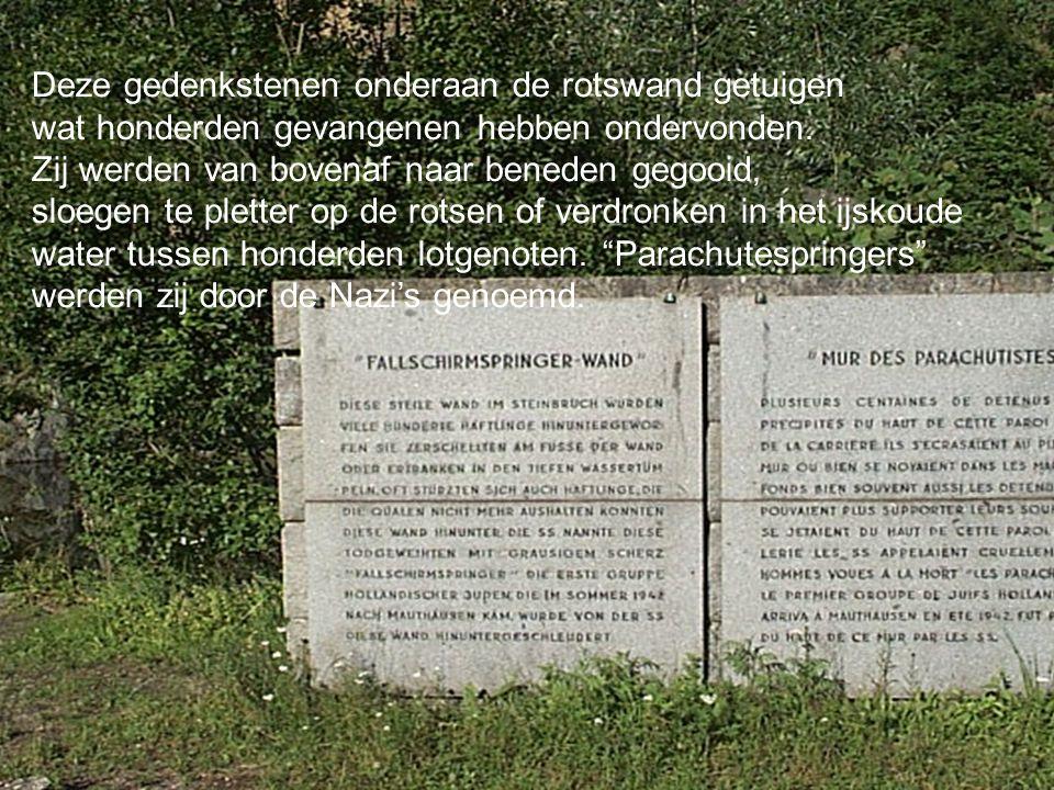 Konzentrationslager Mauthausen Deze gedenkstenen onderaan de rotswand getuigen wat honderden gevangenen hebben ondervonden.