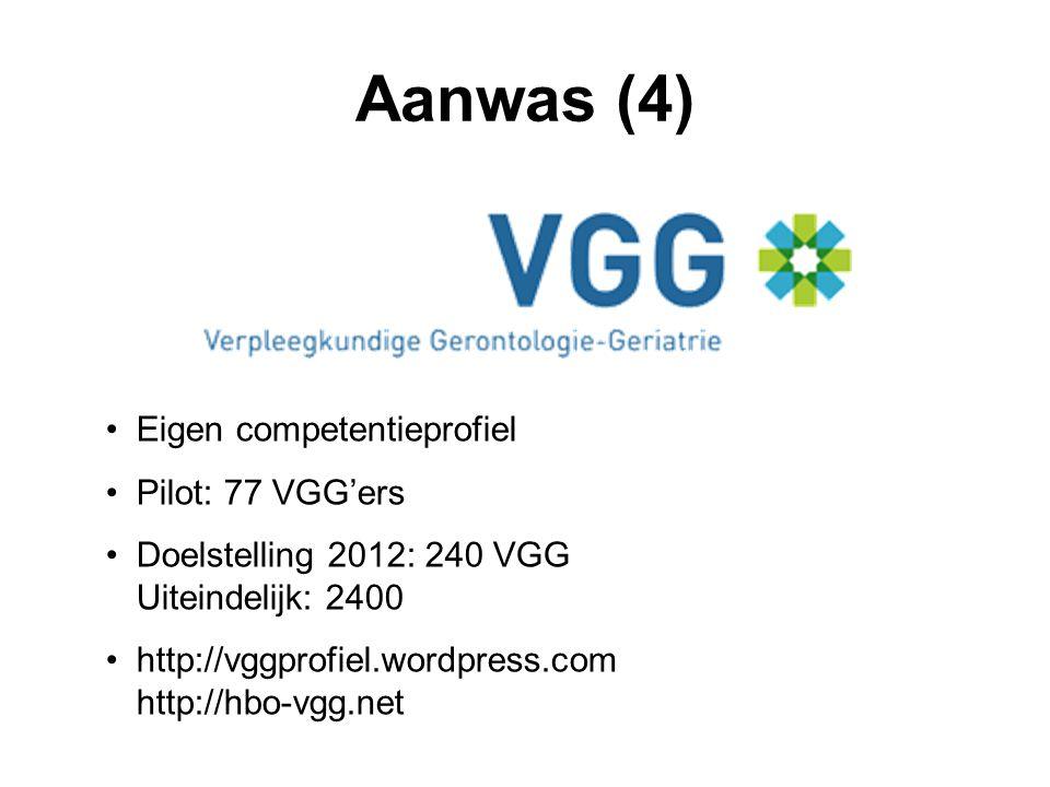 Aanwas (4) •Eigen competentieprofiel •Pilot: 77 VGG'ers •Doelstelling 2012: 240 VGG Uiteindelijk: 2400 •http://vggprofiel.wordpress.com http://hbo-vgg.net