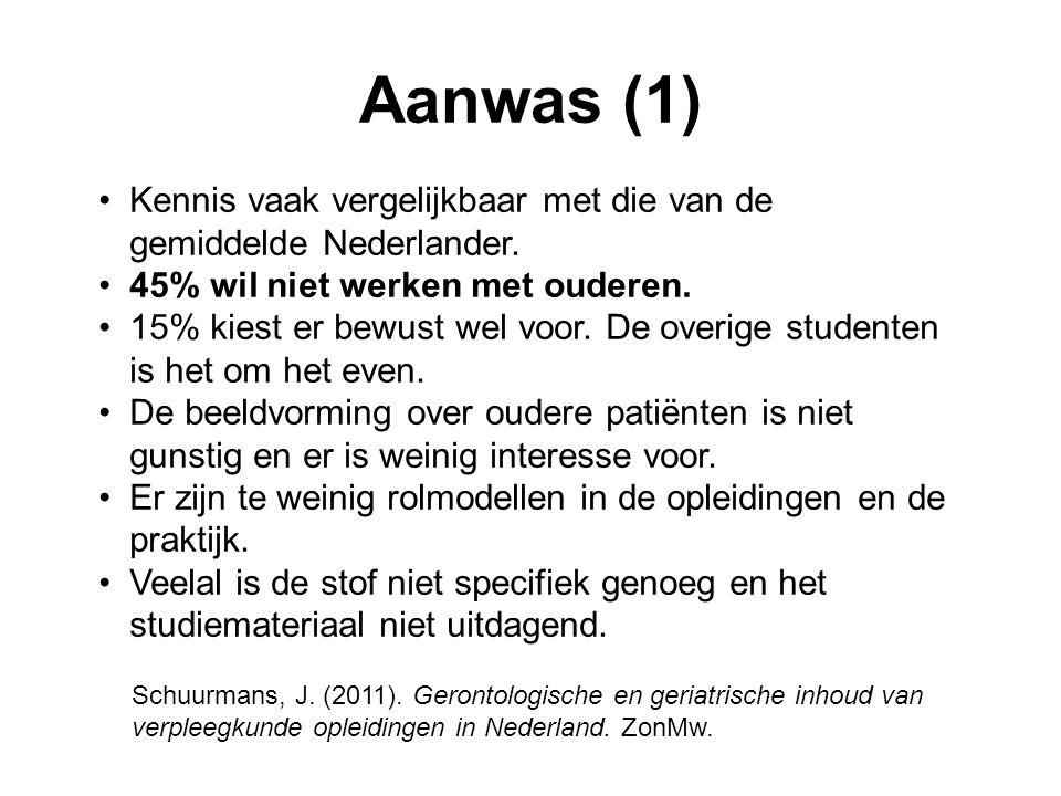 Aanwas (1) •Kennis vaak vergelijkbaar met die van de gemiddelde Nederlander.