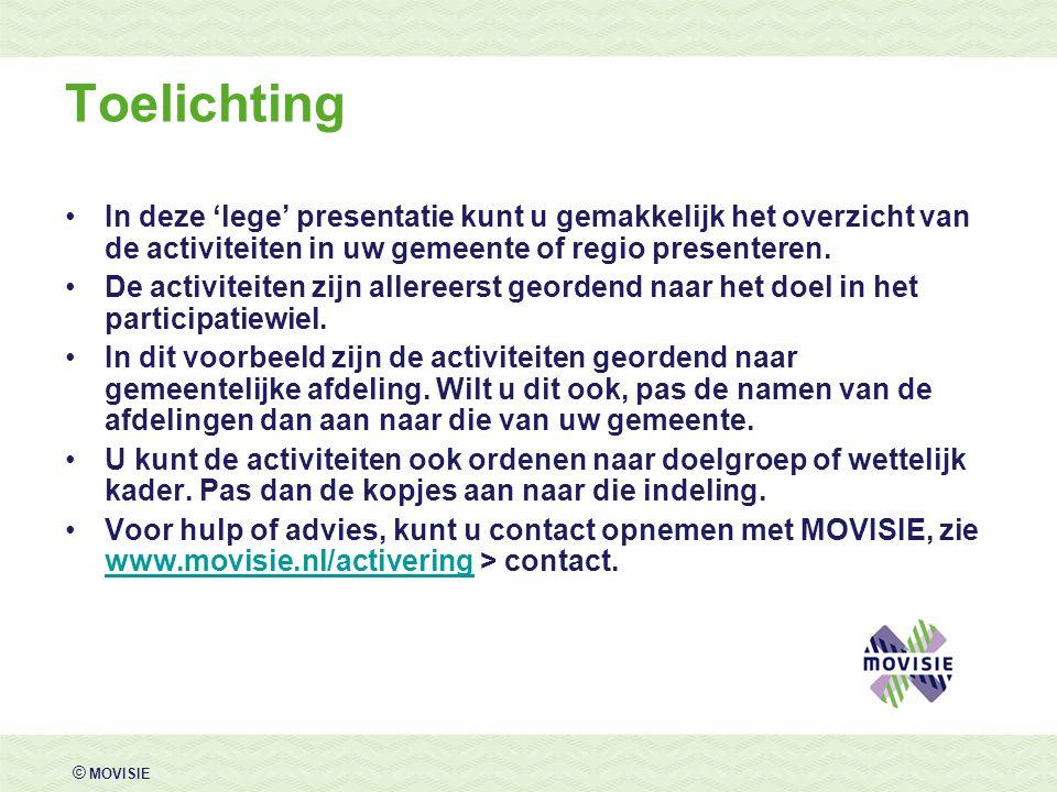 © MOVISIE Toelichting •In deze 'lege' presentatie kunt u gemakkelijk het overzicht van de activiteiten in uw gemeente of regio presenteren. •De activi