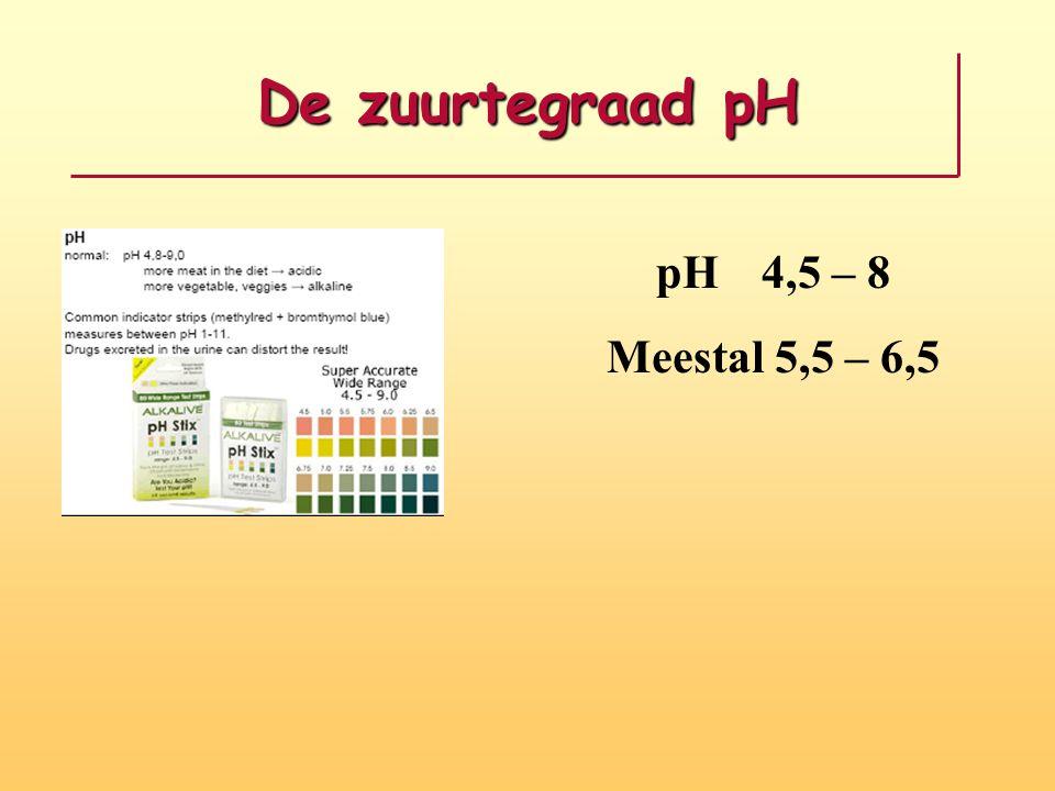 De zuurtegraad pH pH 4,5 – 8 Meestal 5,5 – 6,5