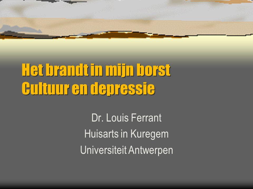 Het brandt in mijn borst Cultuur en depressie Dr. Louis Ferrant Huisarts in Kuregem Universiteit Antwerpen