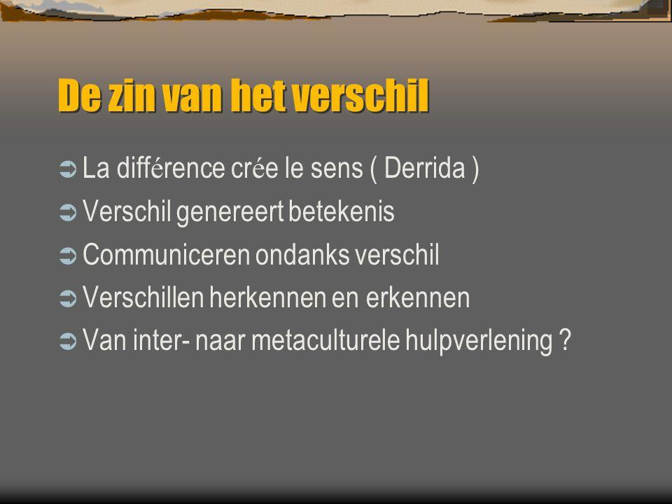 De zin van het verschil  La diff é rence cr é e le sens ( Derrida )  Verschil genereert betekenis  Communiceren ondanks verschil  Verschillen herk