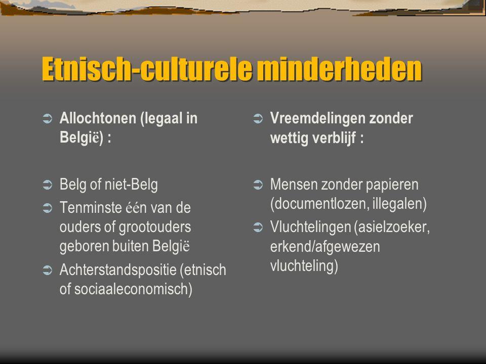 Etnisch-culturele minderheden  Allochtonen (legaal in Belgi ë ) :  Belg of niet-Belg  Tenminste éé n van de ouders of grootouders geboren buiten Be