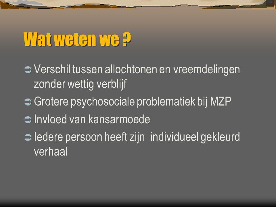 Wat weten we ?  Verschil tussen allochtonen en vreemdelingen zonder wettig verblijf  Grotere psychosociale problematiek bij MZP  Invloed van kansar