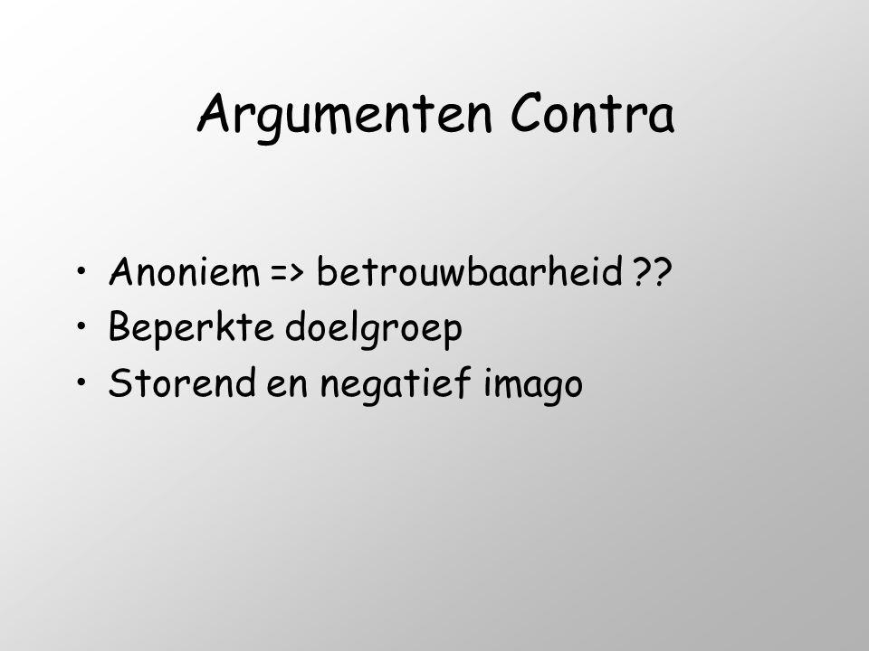 Argumenten Contra •Anoniem => betrouwbaarheid ?? •Beperkte doelgroep •Storend en negatief imago
