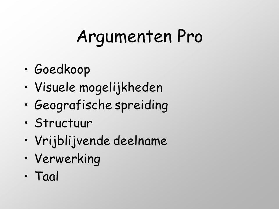 Argumenten Pro •Goedkoop •Visuele mogelijkheden •Geografische spreiding •Structuur •Vrijblijvende deelname •Verwerking •Taal