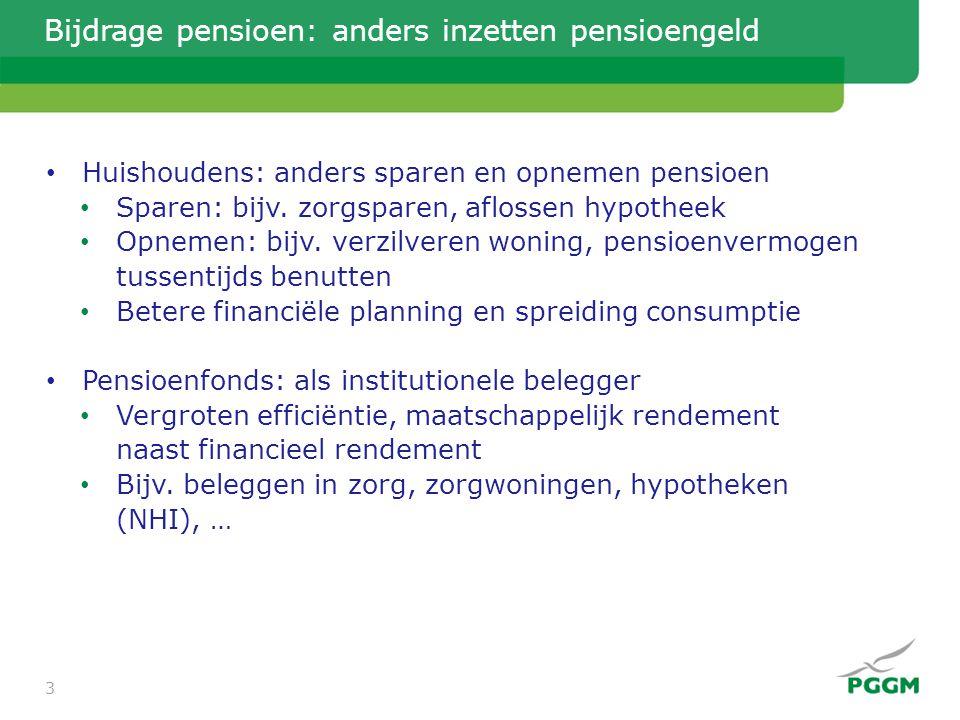 Bijdrage pensioen: anders inzetten pensioengeld • Huishoudens: anders sparen en opnemen pensioen • Sparen: bijv. zorgsparen, aflossen hypotheek • Opne