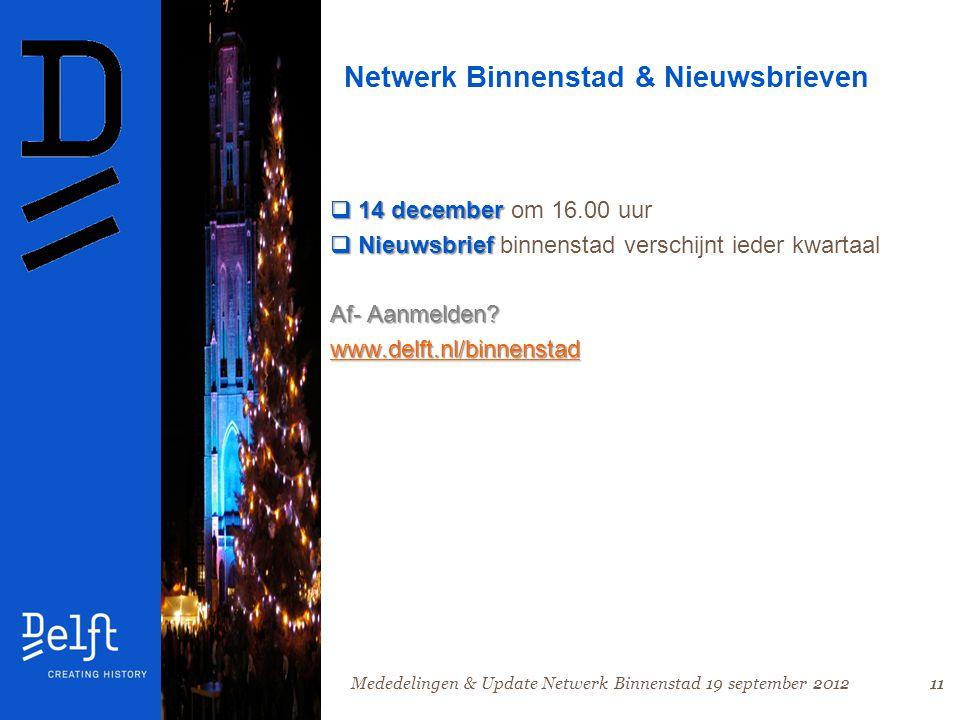 11 Netwerk Binnenstad & Nieuwsbrieven  14 december  14 december om 16.00 uur  Nieuwsbrief  Nieuwsbrief binnenstad verschijnt ieder kwartaal Af- Aanmelden.