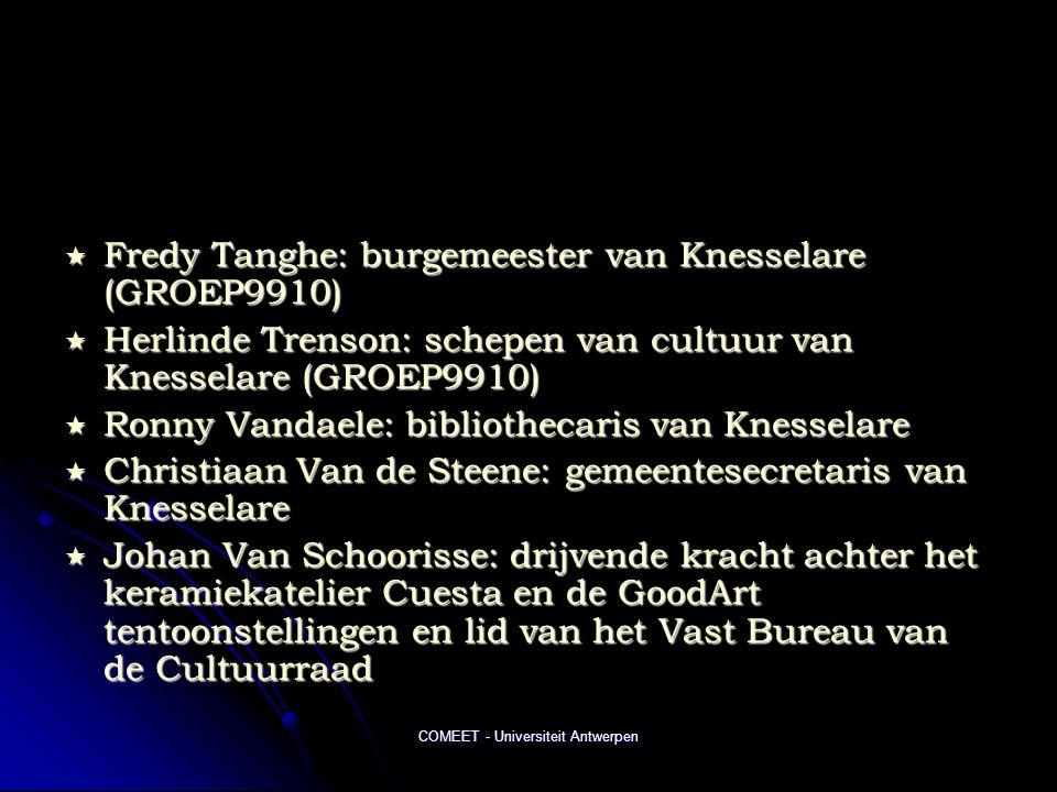 COMEET - Universiteit Antwerpen  Fredy Tanghe: burgemeester van Knesselare (GROEP9910)  Herlinde Trenson: schepen van cultuur van Knesselare (GROEP9