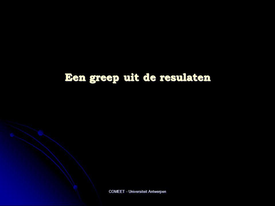 COMEET - Universiteit Antwerpen Een greep uit de resulaten