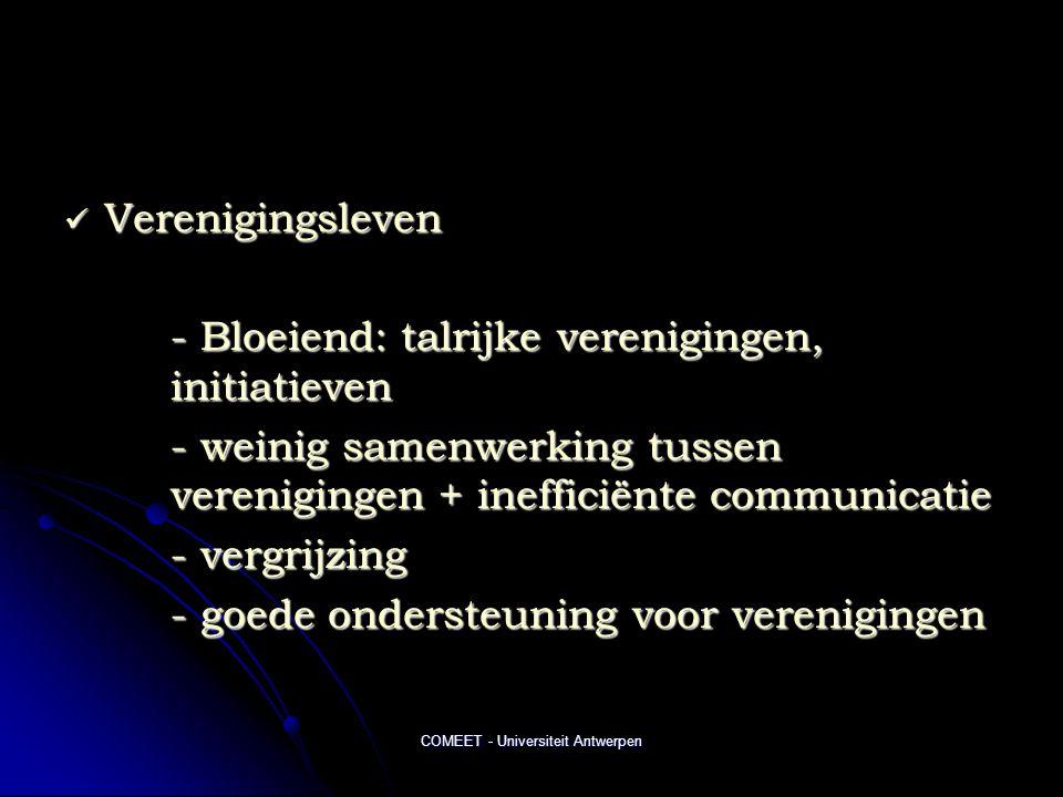 COMEET - Universiteit Antwerpen  Verenigingsleven - Bloeiend: talrijke verenigingen, initiatieven - weinig samenwerking tussen verenigingen + inefficiënte communicatie - vergrijzing - goede ondersteuning voor verenigingen