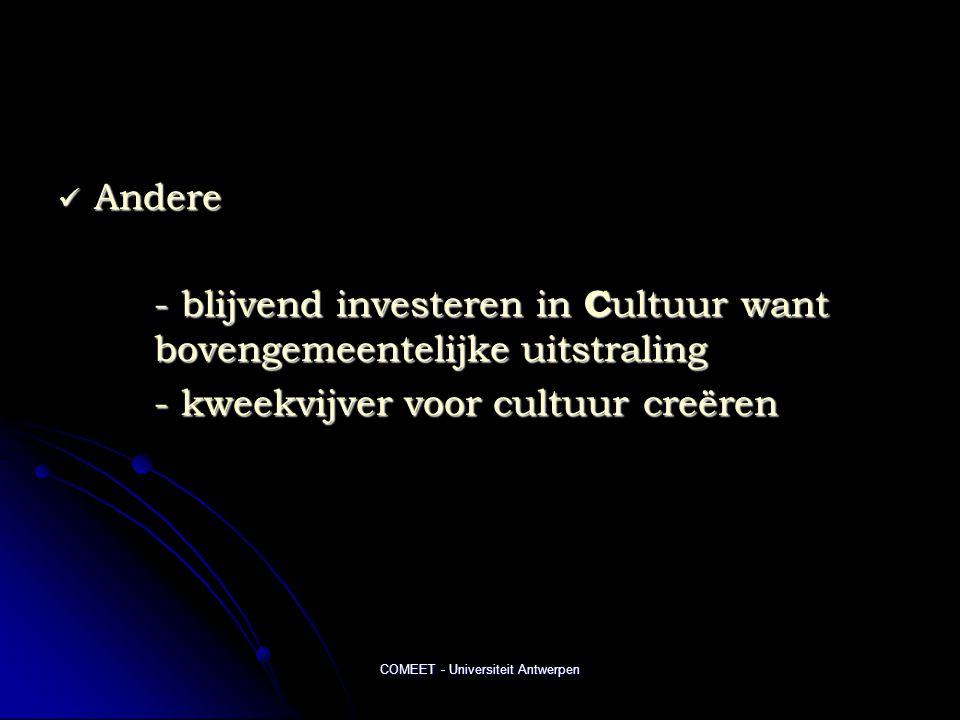 COMEET - Universiteit Antwerpen  Andere - blijvend investeren in C ultuur want bovengemeentelijke uitstraling - kweekvijver voor cultuur creëren