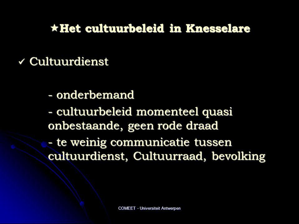 COMEET - Universiteit Antwerpen  Het cultuurbeleid in Knesselare  Cultuurdienst - onderbemand - cultuurbeleid momenteel quasi onbestaande, geen rode draad - te weinig communicatie tussen cultuurdienst, Cultuurraad, bevolking