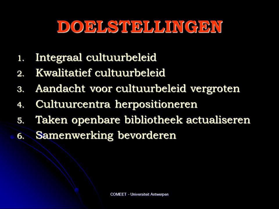 COMEET - Universiteit Antwerpen DOELSTELLINGEN 1. Integraal cultuurbeleid 2. Kwalitatief cultuurbeleid 3. Aandacht voor cultuurbeleid vergroten 4. Cul