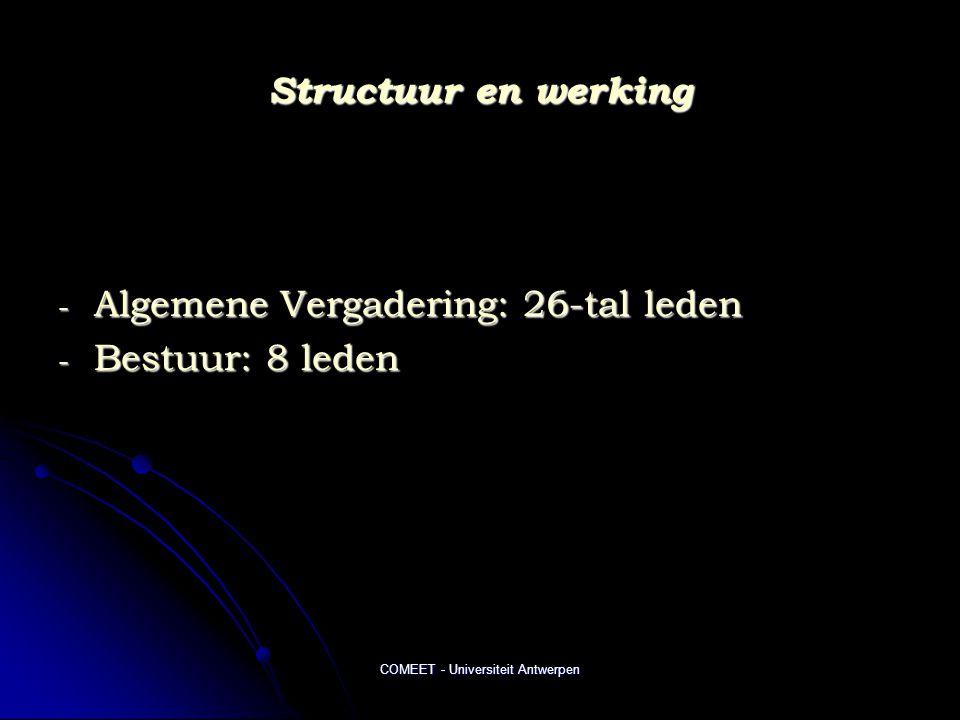 COMEET - Universiteit Antwerpen Structuur en werking - Algemene Vergadering: 26-tal leden - Bestuur: 8 leden