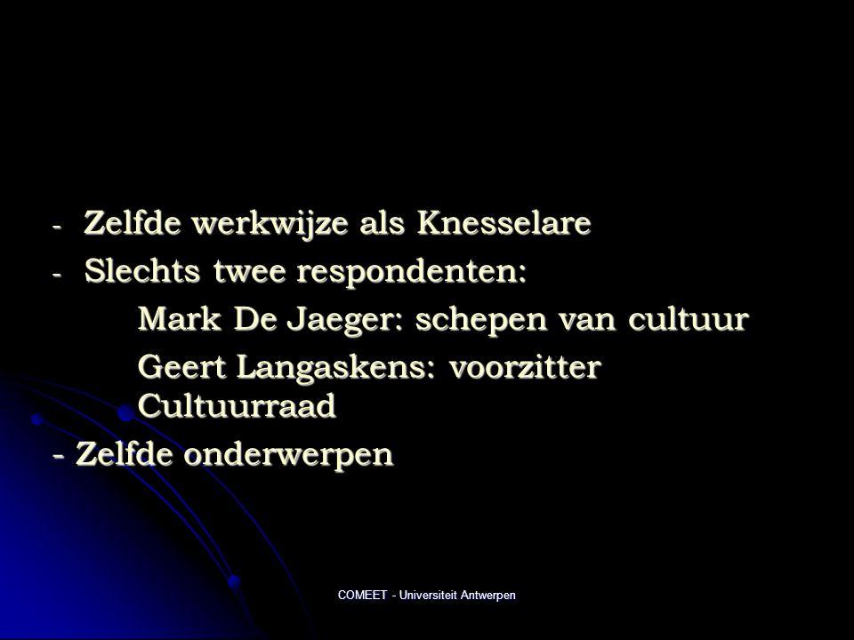 COMEET - Universiteit Antwerpen - Zelfde werkwijze als Knesselare - Slechts twee respondenten: Mark De Jaeger: schepen van cultuur Geert Langaskens: voorzitter Cultuurraad - Zelfde onderwerpen