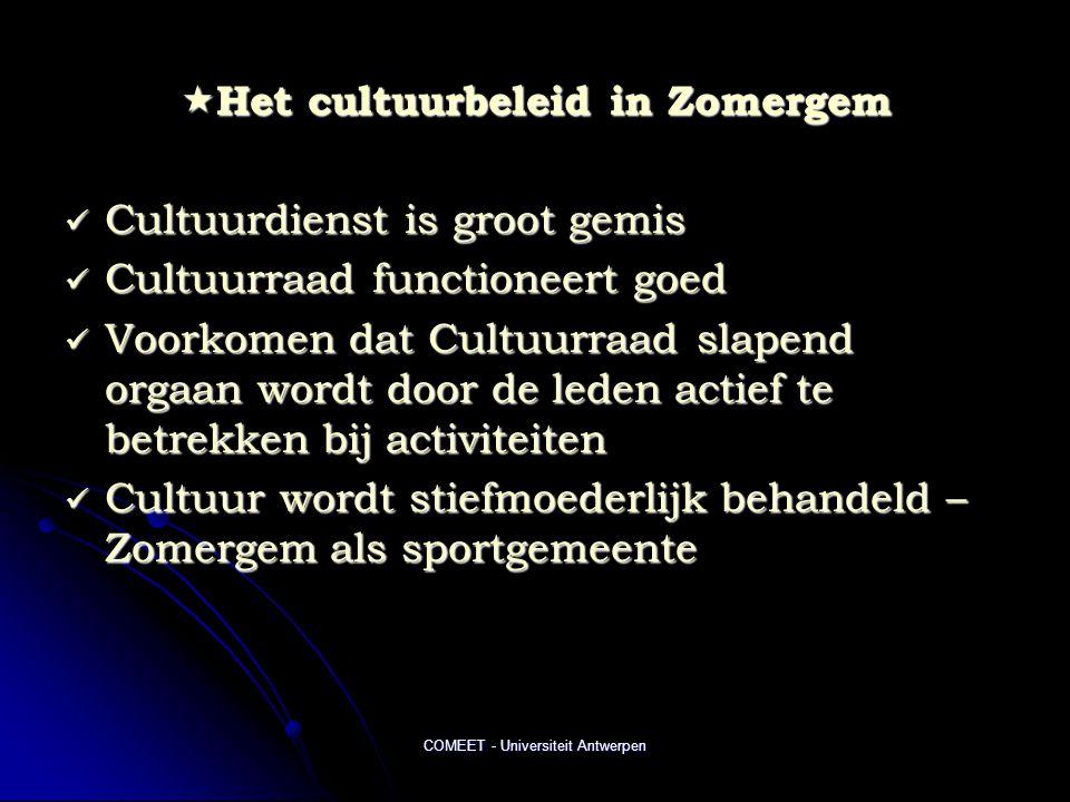 COMEET - Universiteit Antwerpen  Het cultuurbeleid in Zomergem  Cultuurdienst is groot gemis  Cultuurraad functioneert goed  Voorkomen dat Cultuurraad slapend orgaan wordt door de leden actief te betrekken bij activiteiten  Cultuur wordt stiefmoederlijk behandeld – Zomergem als sportgemeente