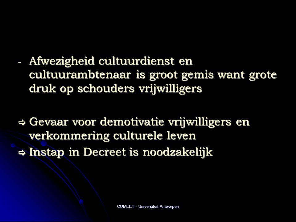 COMEET - Universiteit Antwerpen - Afwezigheid cultuurdienst en cultuurambtenaar is groot gemis want grote druk op schouders vrijwilligers  Gevaar voor demotivatie vrijwilligers en verkommering culturele leven  Instap in Decreet is noodzakelijk