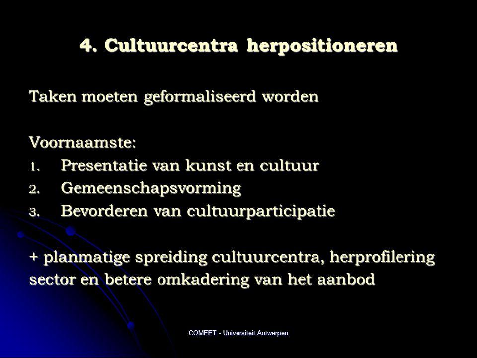 COMEET - Universiteit Antwerpen 4. Cultuurcentra herpositioneren Taken moeten geformaliseerd worden Voornaamste: 1. Presentatie van kunst en cultuur 2