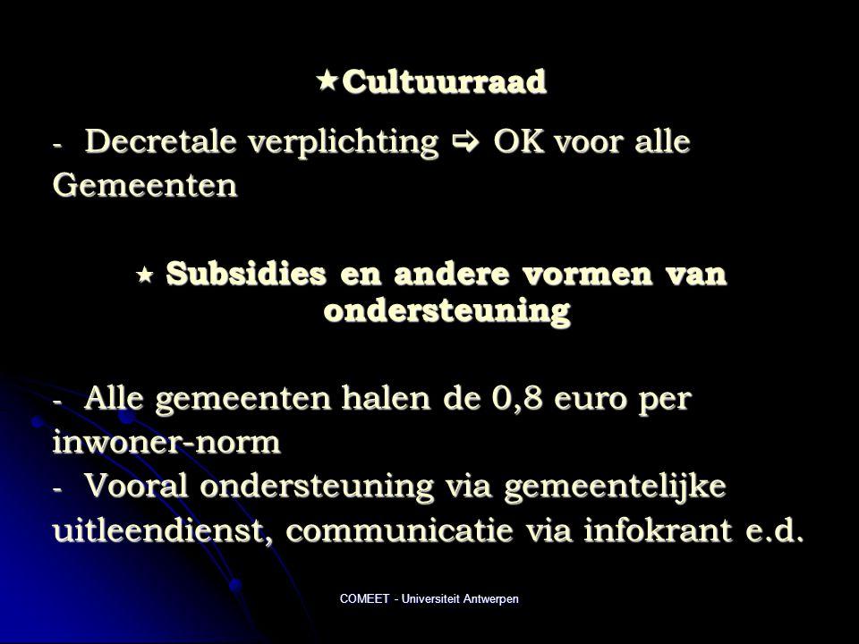 COMEET - Universiteit Antwerpen  Cultuurraad - Decretale verplichting  OK voor alle Gemeenten  Subsidies en andere vormen van ondersteuning - Alle gemeenten halen de 0,8 euro per inwoner-norm - Vooral ondersteuning via gemeentelijke uitleendienst, communicatie via infokrant e.d.