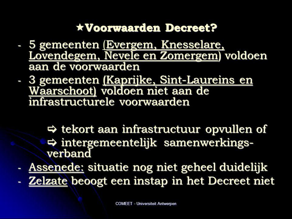 COMEET - Universiteit Antwerpen  Voorwaarden Decreet.