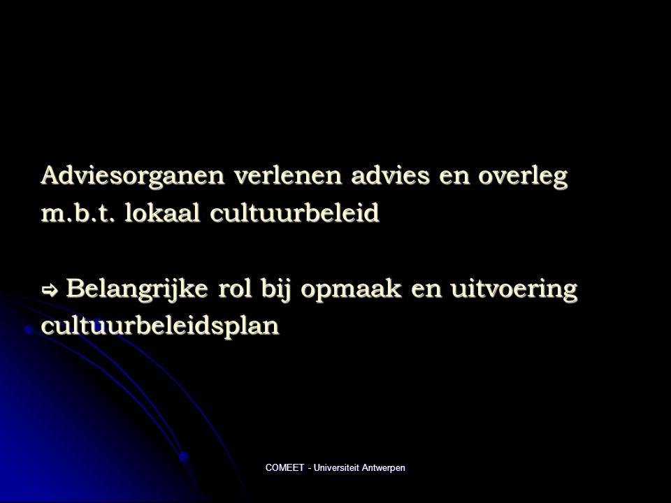 COMEET - Universiteit Antwerpen Adviesorganen verlenen advies en overleg m.b.t. lokaal cultuurbeleid  Belangrijke rol bij opmaak en uitvoering cultuu