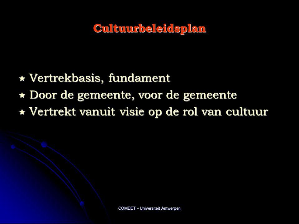 COMEET - Universiteit Antwerpen Cultuurbeleidsplan  Vertrekbasis, fundament  Door de gemeente, voor de gemeente  Vertrekt vanuit visie op de rol van cultuur