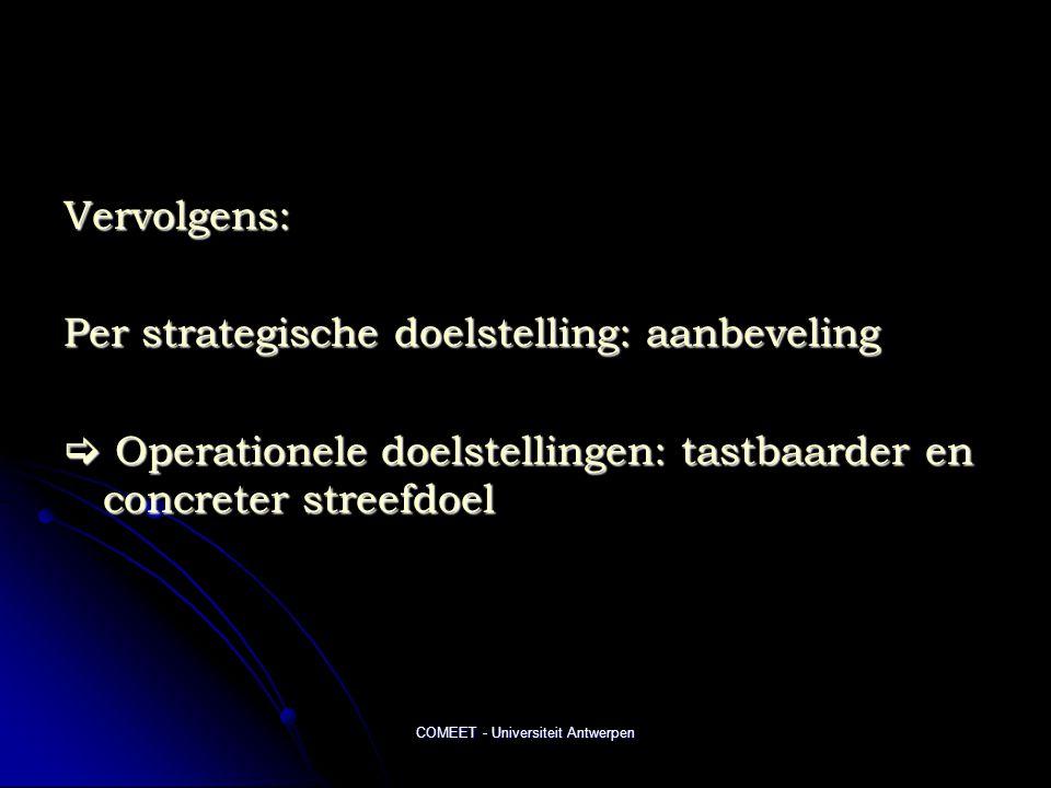 COMEET - Universiteit Antwerpen Vervolgens: Per strategische doelstelling: aanbeveling  Operationele doelstellingen: tastbaarder en concreter streefd