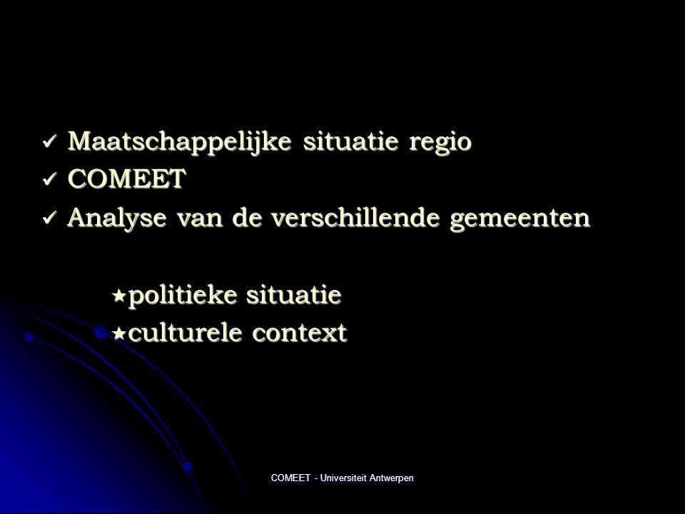 COMEET - Universiteit Antwerpen  Maatschappelijke situatie regio  COMEET  Analyse van de verschillende gemeenten  politieke situatie  culturele context