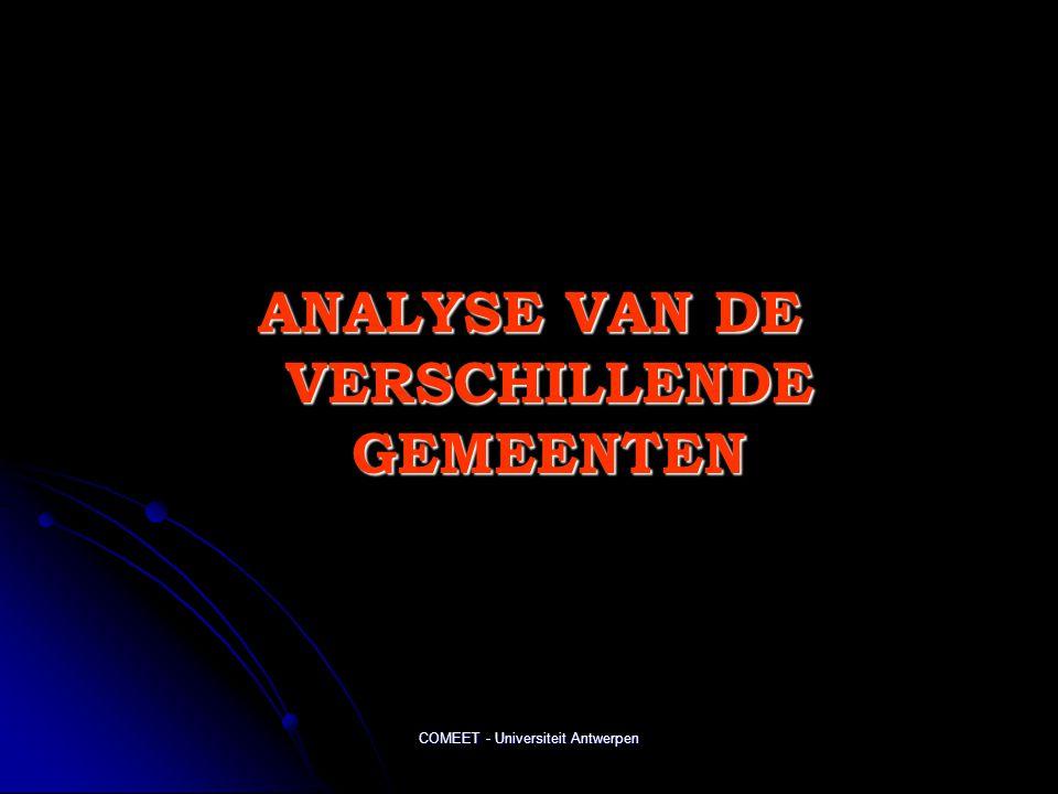 COMEET - Universiteit Antwerpen ANALYSE VAN DE VERSCHILLENDE GEMEENTEN