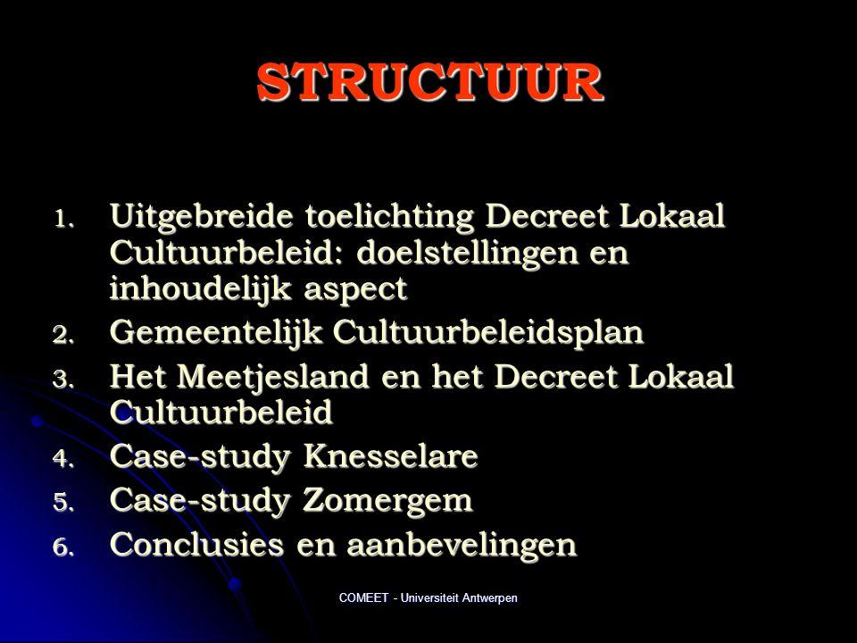 COMEET - Universiteit Antwerpen STRUCTUUR 1. Uitgebreide toelichting Decreet Lokaal Cultuurbeleid: doelstellingen en inhoudelijk aspect 2. Gemeentelij