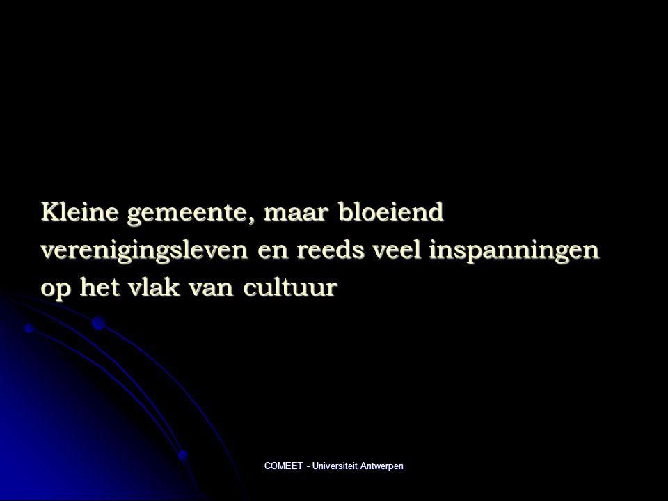 COMEET - Universiteit Antwerpen Kleine gemeente, maar bloeiend verenigingsleven en reeds veel inspanningen op het vlak van cultuur