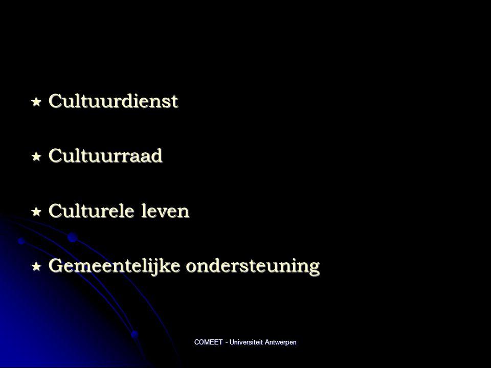 COMEET - Universiteit Antwerpen  Cultuurdienst  Cultuurraad  Culturele leven  Gemeentelijke ondersteuning