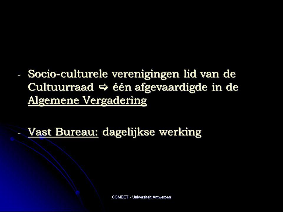 COMEET - Universiteit Antwerpen - Socio-culturele verenigingen lid van de Cultuurraad  één afgevaardigde in de Algemene Vergadering - Vast Bureau: dagelijkse werking