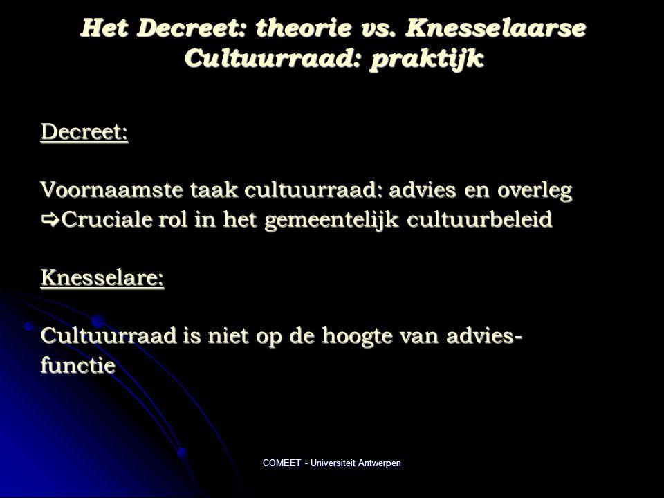 COMEET - Universiteit Antwerpen Het Decreet: theorie vs. Knesselaarse Cultuurraad: praktijk Decreet: Voornaamste taak cultuurraad: advies en overleg 