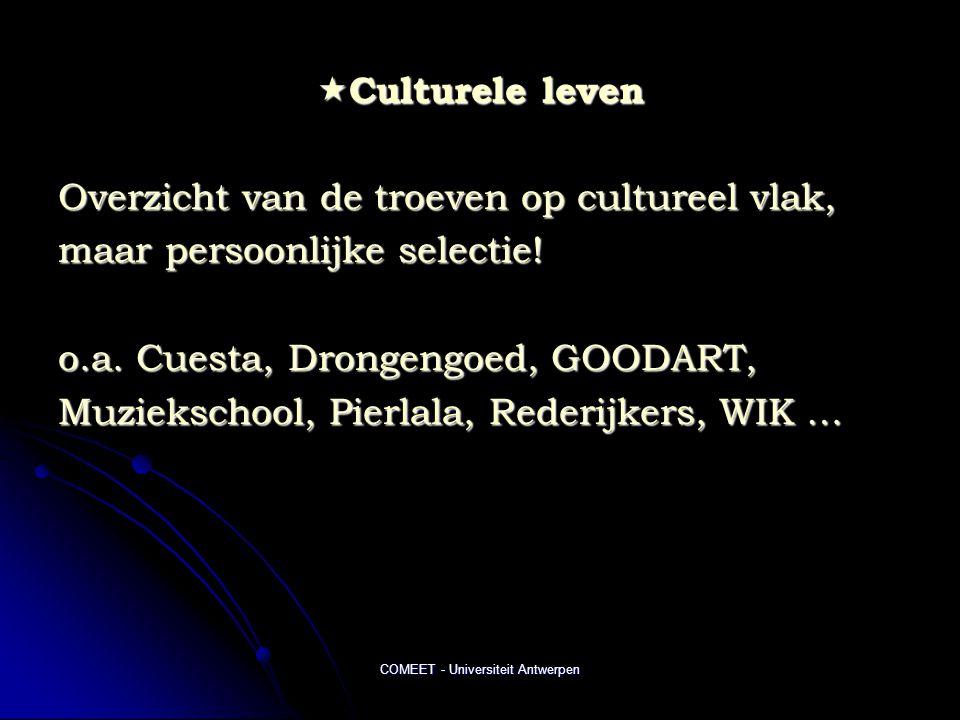 COMEET - Universiteit Antwerpen  Culturele leven Overzicht van de troeven op cultureel vlak, maar persoonlijke selectie! o.a. Cuesta, Drongengoed, GO