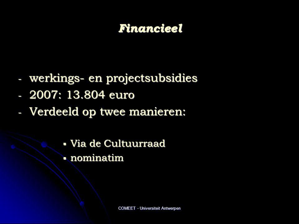 COMEET - Universiteit Antwerpen Financieel - werkings- en projectsubsidies - 2007: 13.804 euro - Verdeeld op twee manieren:  Via de Cultuurraad  nominatim