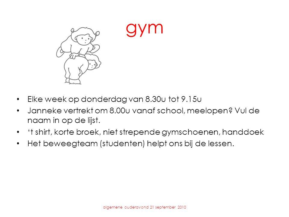 gym • Elke week op donderdag van 8.30u tot 9.15u • Janneke vertrekt om 8.00u vanaf school, meelopen? Vul de naam in op de lijst. • 't shirt, korte bro