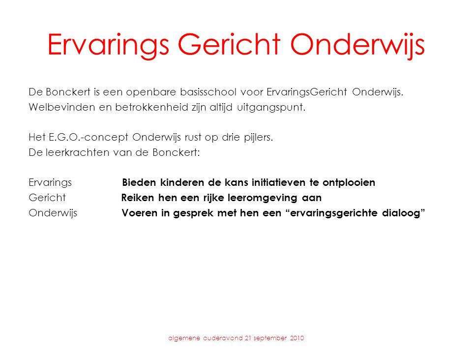 Ervarings Gericht Onderwijs algemene ouderavond 21 september 2010 De Bonckert is een openbare basisschool voor ErvaringsGericht Onderwijs.