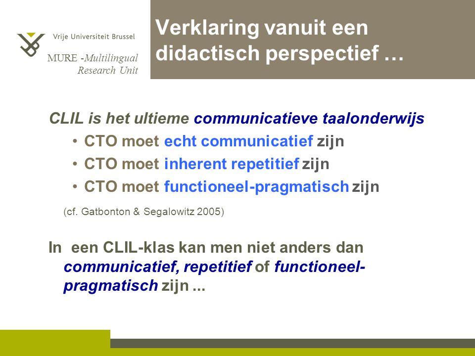 MURE -Multilingual Research Unit Verklaring vanuit een didactisch perspectief … CLIL is het ultieme communicatieve taalonderwijs •CTO moet echt commun