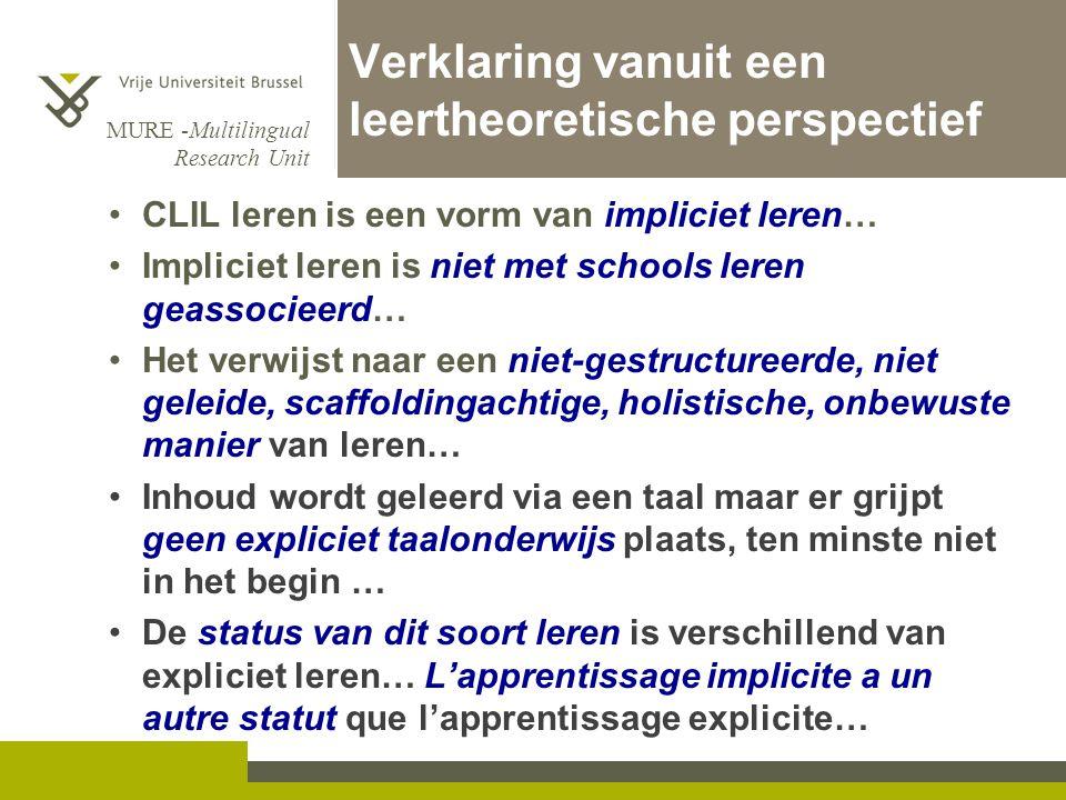 MURE -Multilingual Research Unit Verklaring vanuit een leertheoretische perspectief •CLIL leren is een vorm van impliciet leren… •Impliciet leren is n