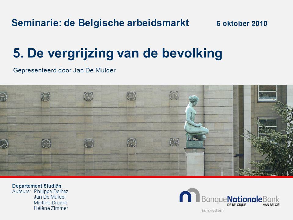 Seminarie: de Belgische arbeidsmarkt 6 oktober 2010 5. De vergrijzing van de bevolking Gepresenteerd door Jan De Mulder Departement Studiën Auteurs:Ph