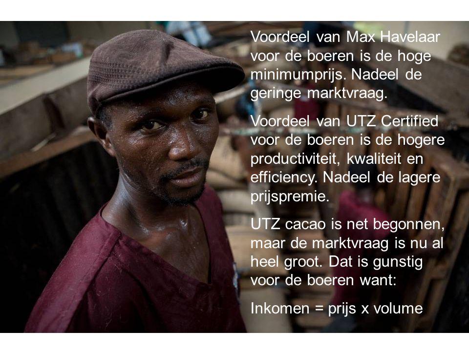 Voordeel van Max Havelaar voor de boeren is de hoge minimumprijs. Nadeel de geringe marktvraag. Voordeel van UTZ Certified voor de boeren is de hogere