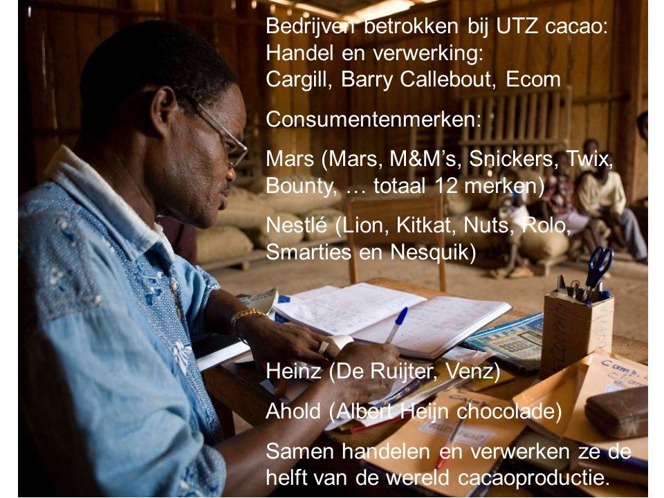 Bedrijven betrokken bij UTZ cacao: Handel en verwerking: Cargill, Barry Callebout, Ecom Consumentenmerken: Mars (Mars, M&M's, Snickers, Twix, Bounty,