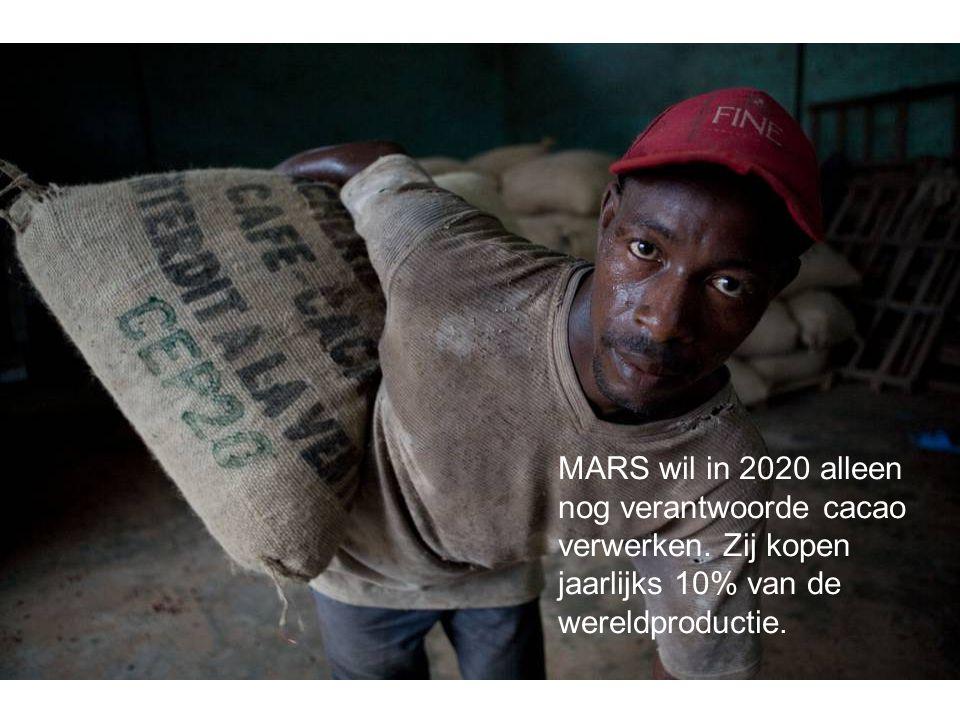 MARS wil in 2020 alleen nog verantwoorde cacao verwerken. Zij kopen jaarlijks 10% van de wereldproductie.