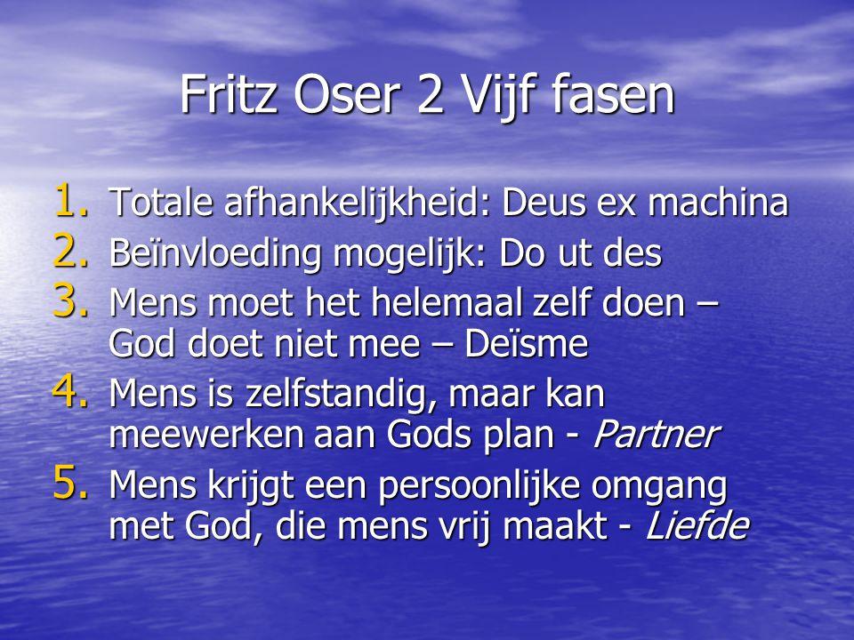 Fritz Oser 2 Vijf fasen 1. Totale afhankelijkheid: Deus ex machina 2. Beïnvloeding mogelijk: Do ut des 3. Mens moet het helemaal zelf doen – God doet