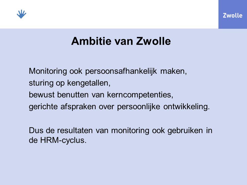 Ambitie van Zwolle Monitoring ook persoonsafhankelijk maken, sturing op kengetallen, bewust benutten van kerncompetenties, gerichte afspraken over per